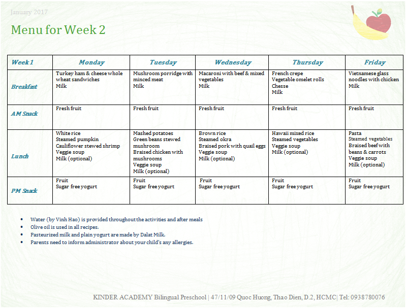 Nutrition Weekly Menu